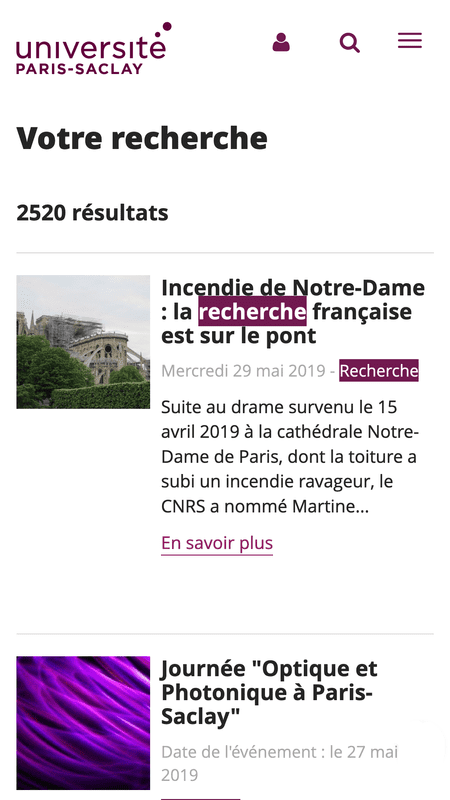 Page de résultats de recherche du site universite-paris-saclay.fr en version mobile