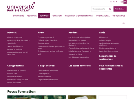 Menu du site universite-paris-saclay.fr en version desktop