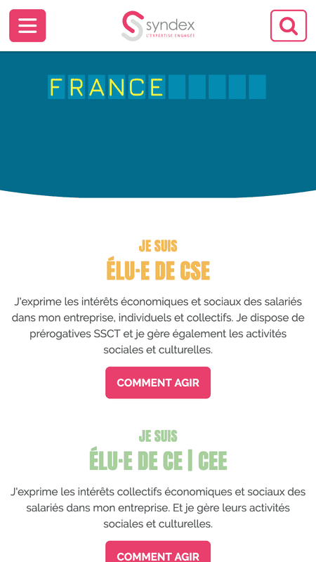 Page d'accueil du site syndex.fr en version mobile