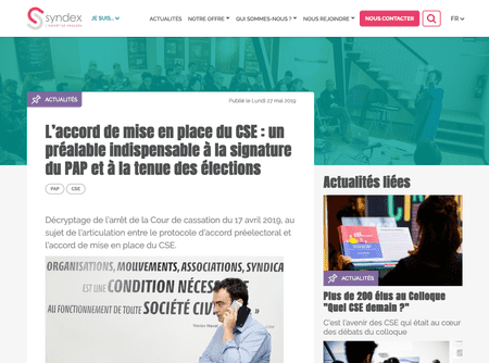 Une page actualité du site syndex.fr en version desktop