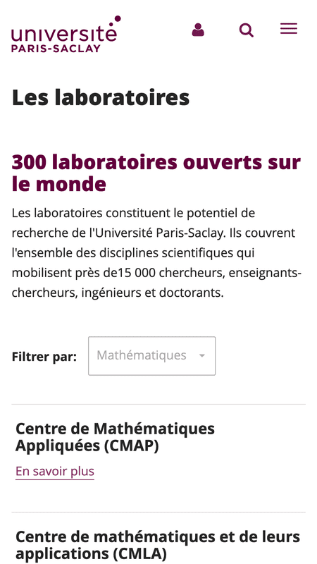 Liste des laboratoires du site universite-paris-saclay.fr en version mobile