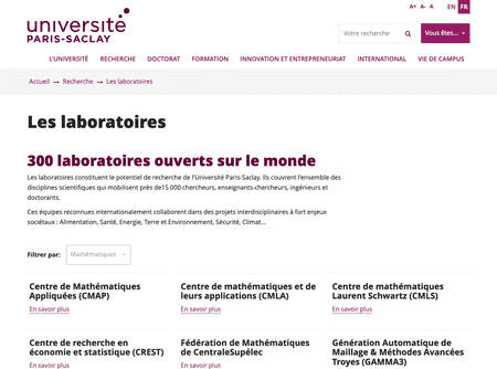 Liste des laboratoires du site universite-paris-saclay.fr en version desktop