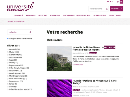 Page de résultats de recherche du site universite-paris-saclay.fr en version desktop
