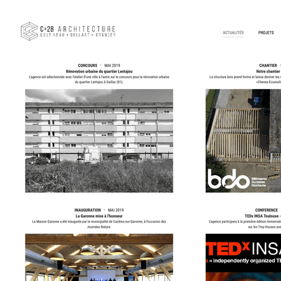 Page d'accueil du site cplus2b-architecture.fr en version desktop