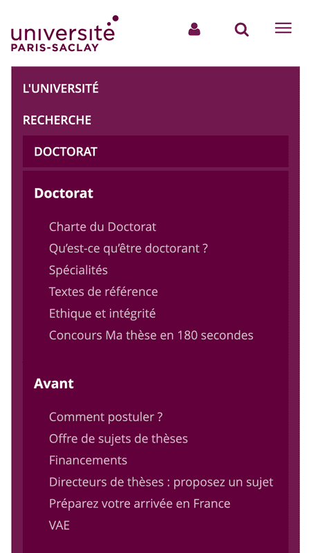 Menu du site universite-paris-saclay.fr en version mobile