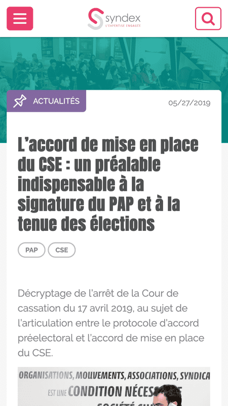 Une page actualité du site syndex.fr en version mobile