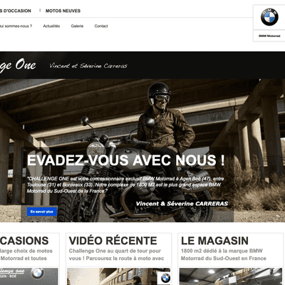 Page d'accueil du site challenge-one.com en version desktop