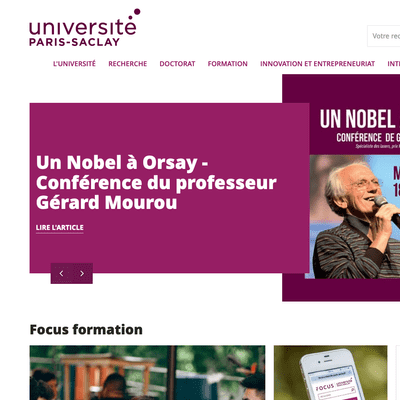 Page d'accueil du site universite-paris-saclay.fr en version desktop
